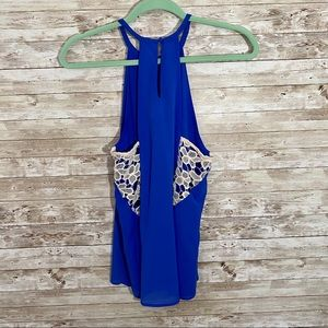 Lace Back Blue Tank
